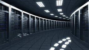 Modern server room. Information technologies, ISP, cloud services, data center or big online business concepts. 3D Royalty Free Stock Photography