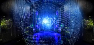 Big data and information technology concept. Digital dots Earth network penetration server room data center. Modern server room symmetry ranks supercomputers Royalty Free Stock Image