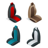 Modern set of car seat icons. Editable automotive collection. Vector isometric 3d flat illustration. Stock Image
