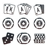 Modern set of colorful gambling and casino icons for website or mobile application. Bright and stylish elements for you des. Ign stock illustration