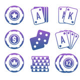 Modern set of colorful gambling and casino icons for website or mobile application. Bright and stylish elements for you des. Ign vector illustration