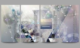 modern set för reklamblad DNAmolekylstruktur på mörker - blå bakgrund Vetenskapsvektorbakgrund Fotografering för Bildbyråer