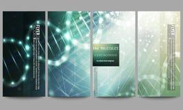 modern set för reklamblad DNAmolekylstruktur på mörker - grön bakgrund Vetenskapsvektorbakgrund Fotografering för Bildbyråer