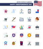 Modern Set of 25 Flats and symbols on USA Independence Day such as christmas; ireland; ice hockey; cell; mobile