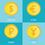 Modern  set of gold coins on colorful background, euro, do. Vector set of gold coins on colorful background, euro, dollar, ruble, yen Royalty Free Stock Image