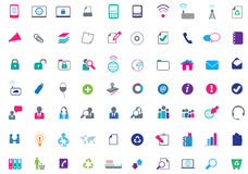 Modern set of large business flat icons Royalty Free Stock Photo