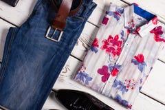 Modern set of men's clothing. Royalty Free Stock Image