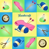 Modern set for needlework, seven different objects royalty free illustration