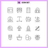 Modern Set of 16 Outlines and symbols such as font, surveillance, road, security, church