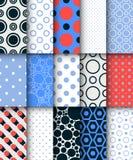 Modern set of polka dot vector seamless pattern Stock Photos