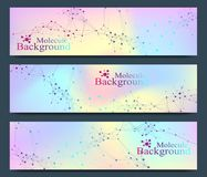 Modern set of vector banners. Molecule DNA and communication background for medicine, science, technology, chemistry stock illustration