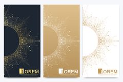 Modern set of vector flyers. Molecule and communication background. Geometric abstract golden package with mandala vector illustration