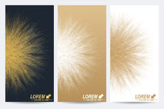 Modern set of vector flyers. Molecule and communication background. Geometric abstract round golden forms. Connected Stock Image