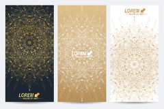 Modern set of vector flyers. Molecule and communication background. Geometric abstract round golden forms. Connected Royalty Free Stock Images