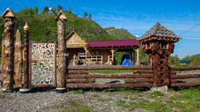 Modern Settlement in the Altai Mountains, Siberia. Settlement in the mountains. Modern life finds a connection with nature. Altai Stock Photography