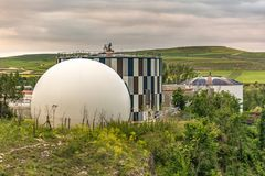 Modern sewage treatment plant stock photo