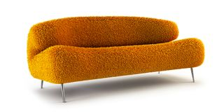 Modern shaggy couch. Modern couch on white background Royalty Free Stock Photos