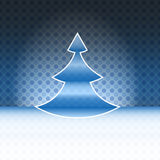 Modern shape christmas tree blue spotted card Stock Photography