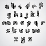 Modern shape letters digital style font with hand drawn lines pa Stock Image