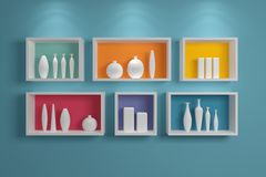 Modern shelves on wall. Stock Photography