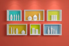 Modern shelves on wall. Royalty Free Stock Photography