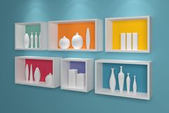 Modern shelves on wall. Stock Photo