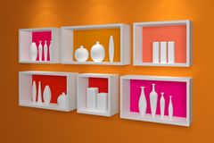 Modern shelves on wall. Royalty Free Stock Photo