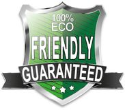 100% eco friendly shield web icon badge. Modern shield web icon on white Backgroud Royalty Free Stock Photos