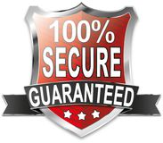 SSL 100% secure online shopping shield web icon badge. Modern shield web icon on white Backgroud Royalty Free Stock Image