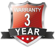 3 year warranty shield web icon badge. Modern shield web icon on white Backgroud Royalty Free Stock Photos