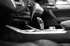 Modern shift gear in luxury car interior Royalty Free Stock Photography