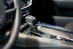 Modern shift gear in luxury car interior Royalty Free Stock Images