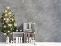 Modern shining Christmas interior, Scandinavian style. Wall mock up. 3D illustration. Modern shining Christmas interior, Scandinavian style. Wall mock up royalty free illustration