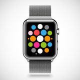 Modern shiny smart watch with steel chain bracelet Royalty Free Stock Image