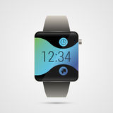 Modern shiny smart watches with buttons and wave. Vector illustration Royalty Free Stock Photos