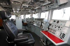 Modern ship bridge. Command and control center or bridge of a modern oceangoing ship Stock Image