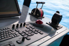 Modern ship control panel with keyboard and accelerator Royalty Free Stock Images