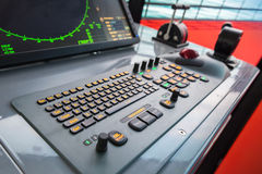 Modern ship control panel with radar screen Stock Photos
