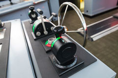 Modern ship control panel with steering wheel Stock Photography