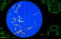 Modern ship radar screen with blue round map Royalty Free Stock Photo