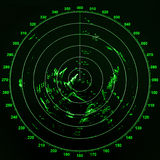 Modern ship radar screen with green round map Royalty Free Stock Images