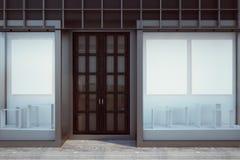 Modern shopfront med den tomma affischen vektor illustrationer