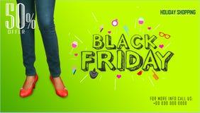 Modern shoppare med den Black Friday designmallen Svart fredag baner illustration Arkivbilder
