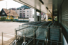MOdern shopping area with shoping carts Royalty Free Stock Images