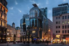 Modern shopping center in the center of Vienna at night, Austria Stock Photo