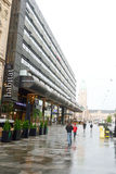 Modern shopping center in Helsinki in rainy day. Royalty Free Stock Photography