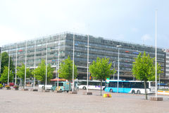 Modern shopping center in Helsinki in rainy day. Royalty Free Stock Images