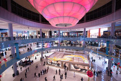Modern shopping center. Interior of the large modern shopping center royalty free stock images