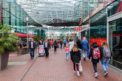 Modern shopping center Spazio in Zoetermeer, Netherlands. Zoetermeer, Netherlands - April 22, 2016: shopping center Spazio with unidentified people. From Stock Images