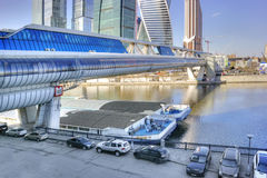 Modern shopping footbridge over the River Moskva Stock Image